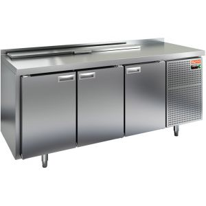 Стол холодильный саладетта, GN1/1, L1.84м, борт H50мм, 3 двери глухие, ножки, +2/+10С, нерж.сталь, дин.охл., агрегат справа, GN1/3, крышка