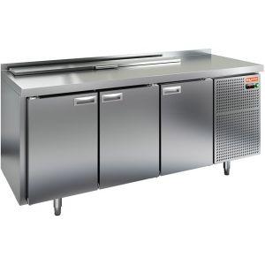 Стол холодильный саладетта, GN1/1, L1.84м, борт H50мм, 3 двери глухие, ножки, +2/+10С, нерж.сталь, дин.охл., агрегат справа, 8GN1/6, крышка
