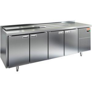 Стол холодильный саладетта, GN1/1, L2.28м, борт H50мм, 4 двери глухие, ножки, +2/+10С, нерж.сталь, дин.охл., агрегат справа, 11GN1/6, крышка