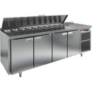 Стол холодильный саладетта, GN1/1, L2.28м, борт H50мм, 4 двери глухие, ножки, +2/+10С, нерж.сталь, дин.охл., агрегат справа, GN1/3, крышка