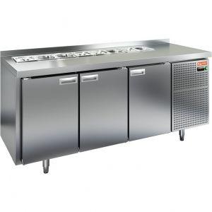 Стол холодильный саладетта, GN2/3, L1.84м, борт H50мм, 3 двери глухие, ножки, +2/+10С, нерж.сталь, дин.охл., агрегат справа, GN1/3, без крышки