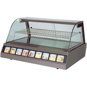 Витрина тепловая настольная, горизонтальная, L0.75м, 2GN1/1, +30/+90С, нерж.сталь, стекло фронтальное гнутое, подсветка