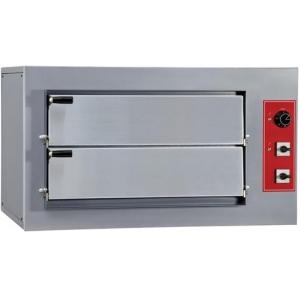 Печь для пиццы электрическая, подовая, 2 камеры  620х500х120мм, 8 пицц D250мм, электромех.управление, двери глухие, под камень, 1 регулятор