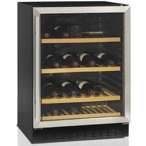 Шкаф холодильный д/вина,  45бут. (155л), 1 дверь стекло, 4 полки, ножки, +5/+18С, стат.охл.+вент., черный+нерж.сталь