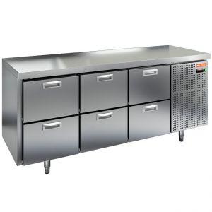 Стол морозильный, GN1/1, L1.84м, без борта, 6 ящиков, ножки, -10/-18С, нерж.сталь, дин.охл., агрегат справа