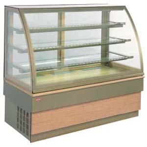 Витрина холодильная напольная, горизонтальная, кондитерская, L1.00м, 3 полки, +4/+8С, дин.охл., золотая, стекло фронтальное гнутое
