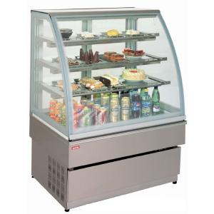 Витрина холодильная напольная, горизонтальная, кондитерская, L0.99м, 3 полки, +4/+8С, дин.охл., серая, стекло фронтальное гнутое