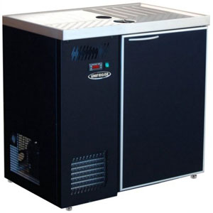 Стол холодильный для кег и розлива пива, L0.90м, без борта, 1 дверь глухая, ножки, +2С, тёмно-серый, дин.охл., агрегат левый, 4 кеги по 20л