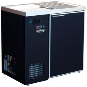 Стол холодильный для кег и розлива пива, L0.90м, без борта, 1 дверь глухая, ножки, +2С, тёмно-серый, дин.охл., агрегат левый, 4 кеги по 20л, зад.ст.оц