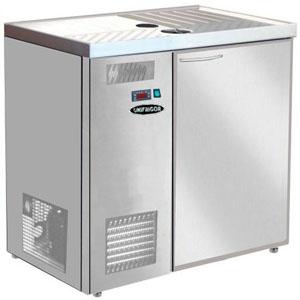 Стол холодильный для кег и розлива пива, L0.90м, без борта, 1 дверь глухая, ножки, +2С, нерж.сталь, дин.охл., агрегат левый, 4 кеги по 20л, зад.ст.оци