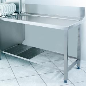 Стол входной-выходной для машин посудомоечных GS500, L1.20м, 1 борт, 1 полка перфорированная, 2 ножки, правый, нерж.сталь
