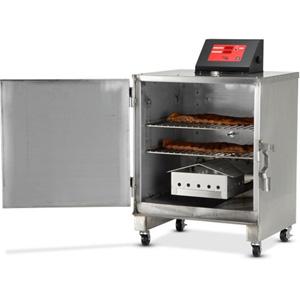Печь-коптильня электрическая напольная, 1 камера 2х(457х356мм), электромех.упр, дверь глухая, нерж.сталь, щуп, колеса