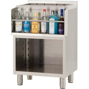 Модуль барный нейтральный,  400х550х900мм, борт H40мм, полузакрытый без двери, ножки, нерж.сталь, держатель бутылок, ванна для льда