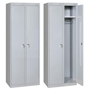 Шкаф для одежды,  600х500х1850мм, 2 секции, 2 двери распашные, 2 полки, 2 перекладины, 4 крючка, 2 замка, краш.металл серый RAL7035, собранный