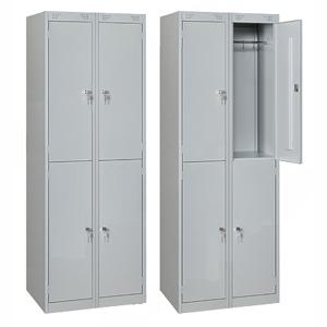 Шкаф для одежды,  600х500х1850мм, 2 секции, 4 ячейки, 4 двери распашные, 4 перекладины, 8 крючков, 4 замка, краш.металл серый RAL7035, собранный