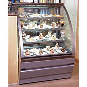 Витрина холодильная напольная, горизонтальная, кондитерская, L1.25м, 3 полки, 0/+8С, дин.охл., золотая, стекло фронтальное гнутое, колёса