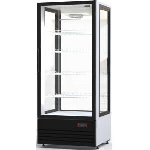 Шкаф-витрина холодильный напольный, вертикальный, L0.82м, 750л, 1 дверь стекло, 4 полки, +5/+10С, дин.охл., белый, 4-х стороннее остекление