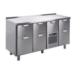 Стол холодильный, GN1/1, L1.66м, борт H40мм,  7 выд.секц., ножки, +2/+15С, нерж.сталь, дин.охл., агрегат центр.
