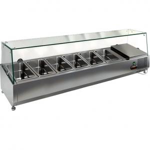 Витрина холодильная настольная, горизонтальная, для топпингов, L1.39м, 6GN1/3, +2/+7С, стат.охл., верхняя структура стекло, ножки