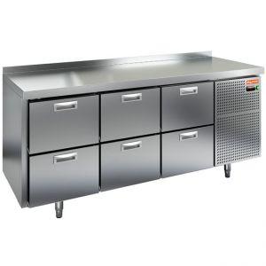Стол холодильный, GN1/1, L1.84м, борт H50мм, 6 ящиков, ножки, -2/+10С, нерж.сталь, дин.охл., агрегат справа