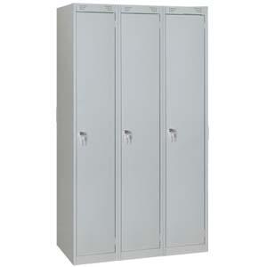 Шкаф для одежды,  900х500х1850мм, 3 секции, 3 двери распашные, 3 полки, 3 перекладины, 6 крючков, 3 замка, краш.металл серый RAL7035, собранный
