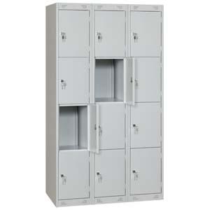 Шкаф для сумок, 1200х500х1850мм, 3 секции, 12 ячеек, 12 дверей распашных, 12 замков, краш.металл серый RAL7035, собранный