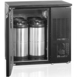 Стол холодильный для кег, L0.88м, без борта, 1 дверь глухая, ножки, +2/+10С, чёрный, дин.охл., агрегат правый, 4 кеги по 20л
