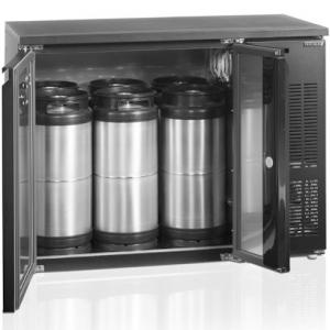 Стол холодильный для кег, L1.11м, без борта, 2 двери глухие, ножки, +2/+10С, чёрный, дин.охл., агрегат правый, 6 кег по 20л