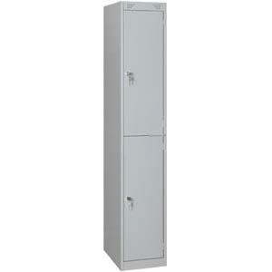 Шкаф для одежды,  400х500х1850мм, 1 секция, 2 ячейки, 2 двери распашные, 2 перекладины, 4 крючка, 2 замка, краш.металл серый RAL7035, собранный