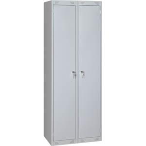 Шкаф для одежды,  800х500х1850мм, 2 секции, 2 двери распашные, 2 полки, 2 перекладины, 4 крючка, 2 замка, краш.металл серый RAL7035, собранный