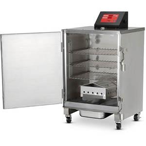 Печь-коптильня электрическая напольная, 1 камера 3х(457х356мм), электромех.упр, дверь глухая, нерж.сталь, щуп, колеса