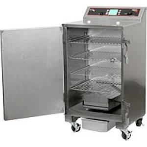 Печь-коптильня электрическая напольная, 1 камера 4х(457х356мм), электромех.упр, дверь глухая, нерж.сталь, щуп, колеса, 220V