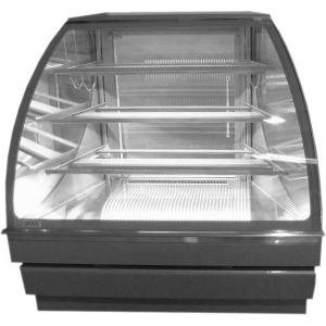 Витрина холодильная напольная, кондитерская, угловая, L1.25м, 3 полки стекло, 0/+8С, дин.охл., металлик-хром (серебристый), 45 град.