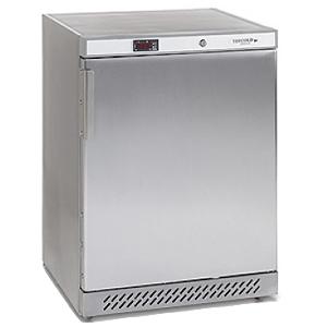 Шкаф холодильный,  130л, 1 дверь глухая, 3 полки, ножки, +2/+10С, стат.охл.+вент., нерж.сталь