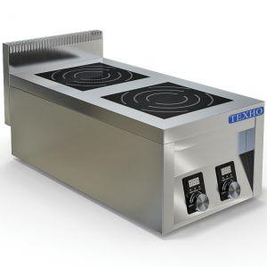 Плита индукционная, 2 конфорки 2х3.5кВт, настольная, борт, 400х760х300мм