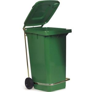 Бак для отходов передвижной,  550х480х930мм, 120л, пластик зеленый, крышка, педаль