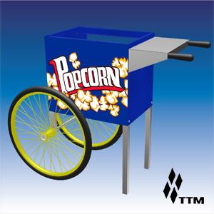 Тележка для попкорн-аппарата, 2 колеса, синяя