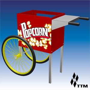 Тележка для попкорн-аппарата, 2 колеса, красная
