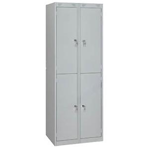 Шкаф для одежды,  600х500х1850мм, 2 секции, 4 ячейки, 4 двери распашные, 4 перекладины, 8 крючков, 4 замка, краш.металл серый RAL7035, разборный