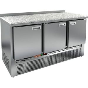 Стол морозильный, GN1/1, L1.49м, борт H50мм, 3 двери глухие, ножки, -10/-18С, нерж.сталь, дин.охл., агрегат нижний, гранит.пов.