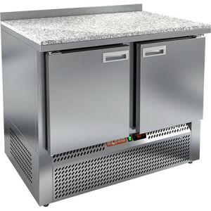 Стол холодильный, GN1/1, L1.00м, борт H50мм, 2 двери глухие, ножки, -2/+10С, нерж.сталь, дин.охл., агрегат нижний, гранит.пов.