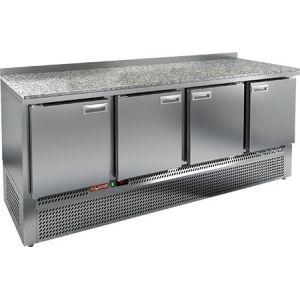 Стол холодильный, GN1/1, L1.97м, борт H50мм, 4 двери глухие, ножки, -2/+10С, нерж.сталь, дин.охл., агрегат нижний, гранит.пов.