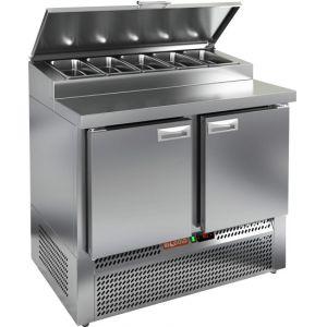 Стол холодильный для пиццы, GN1/1, L1.00м, 2 двери глухие, ножки, +2/+10С, нерж.сталь, дин.охл., агрегат нижний, короб 5GN1/3, крышка
