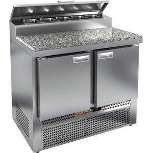 Стол холодильный для пиццы, GN1/1, L1.00м, 2 двери глухие, ножки, +2/+10С, нерж.сталь, дин.охл., агрегат нижний, короб 5GN1/6, крышка, гранит.пов.