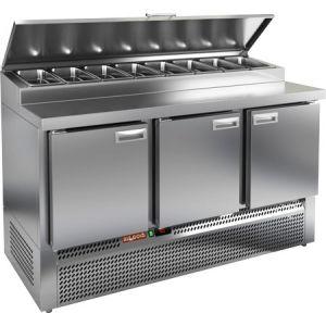 Стол холодильный для пиццы, GN1/1, L1.49м, 3 двери глухие, ножки, +2/+10С, нерж.сталь, дин.охл., агрегат нижний, короб 8GN1/3, крышка