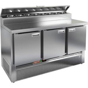 Стол холодильный для пиццы, GN1/1, L1.49м, 3 двери глухие, ножки, +2/+10С, нерж.сталь, дин.охл., агрегат нижний, короб 8GN1/6, крышка
