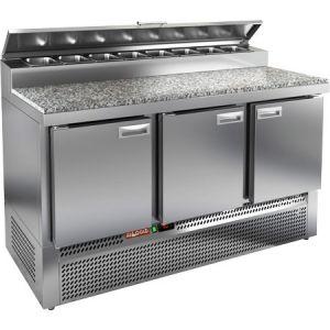 Стол холодильный для пиццы, GN1/1, L1.49м, 3 двери глухие, ножки, +2/+10С, нерж.сталь, дин.охл., агрегат нижний, короб 8GN1/6, крышка, гранит.пов.
