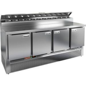 Стол холодильный для пиццы, GN1/1, L1.97м, 4 двери глухие, ножки, +2/+10С, нерж.сталь, дин.охл., агрегат нижний, короб 10GN1/6, крышка
