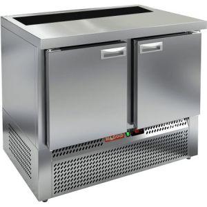 Стол холодильный саладетта, GN1/1, L1.00м, без борта, 2 двери глухие, ножки, +2/+10С, нерж.сталь, дин.охл., агрегат нижний, гнездо GN1/6, без крышки