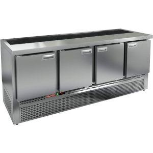 Стол холодильный саладетта, GN1/1, L1.97м, без борта, 4 двери глухие, ножки, +2/+10С, нерж.сталь, дин.охл., агрегат нижний, гнездо GN1/6, без крышки